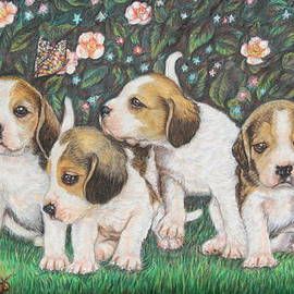 Alessandra Rosi - Dog Puppies and Roses