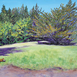 Asha Carolyn Young - Dog with Bone in Spring Meadow