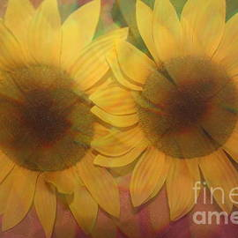 Photographic Art and Design by Dora Sofia Caputo - Double Sunshine -Impressionistc  Sunflowers