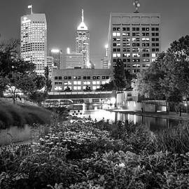 Gregory Ballos - Downtown Indianapolis Skyline at Night - Black and White