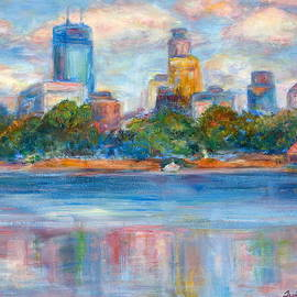 Quin Sweetman - Downtown Minneapolis Skyline from Lake Calhoun II - Or Commission Your City Painting