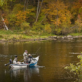 Randall Nyhof - Drift Boat Fishermen on the Muskegon River