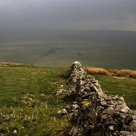 Drystone Wall  misty day Kettlewell Wharfedale North Yorkshire England