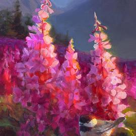 Karen Whitworth - Eagle River Summer Chickadee and Fireweed Alaskan Landscape