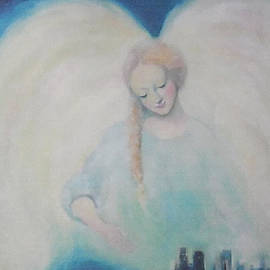 Asha Carolyn Young - Early Dawn Angel Overlooking Commuters