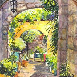 Carol Wisniewski - Early Morning Sun in Rhodes Old Town Greece