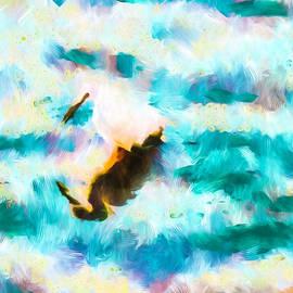 Priya Ghose - Egret Fishing For Dinner Abstract Art