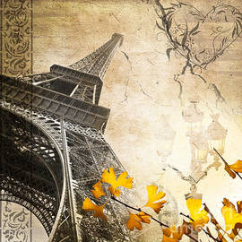 Delphimages Photo Creations - Eiffel tower vintage collage