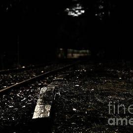 Four Hands Art - Evening light at a train track