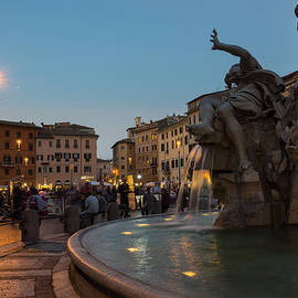 Georgia Mizuleva - Evening on Piazza Navona Rome Italy - Fountain of the Four Rivers