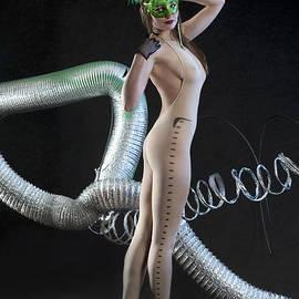 Anton Oparin - Exotic dancer posing in the studio in semi transparent lingerie bodysuit