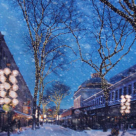 Joann Vitali - Faneuil Hall Winter Snow - Boston