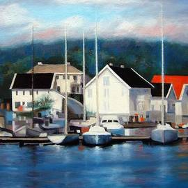 Janet King - Farsund Dock Scene Painting