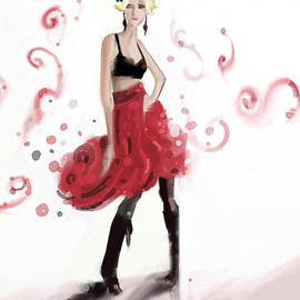 Beverly Brown Prints - Fashion Illustration Art Print Woman in Red Ruffled Skirt