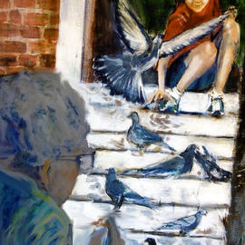 Cecily Mitchell - Feeding Pigeons