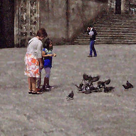 Mary Machare - Feeding Pigeons in Santiago de Compostela