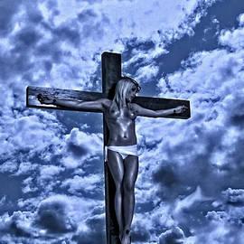 Ramon Martinez - Female crucifixion in blue