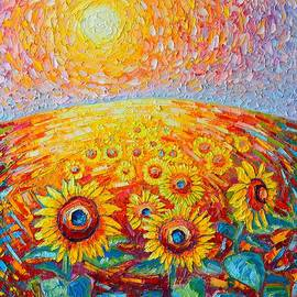 Ana Maria Edulescu - Fields Of Gold - Abstract Landscape With Sunflowers In Sunrise