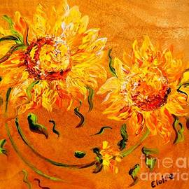 Eloise Schneider - Fiery Sunflowers on Wood