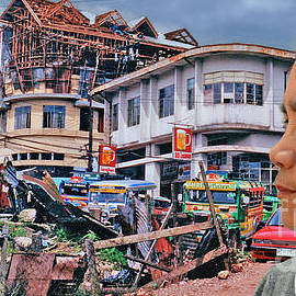 Jim Fitzpatrick - Filipina Woman and her Earthquake Damage City Version III