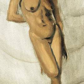 G Linsenmayer - Fine Art Female Nude Oil Painting Sketch Stacy Standing