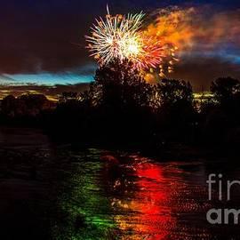 Michael Cross - Fireworks over Willamette River Eugene Oregon