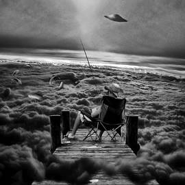 Marian Voicu - Fishing Above the Clouds grayscale