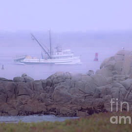 Jerry Cowart - Fishing Boat  Along Monterey Bay Coastline On A Calm Foggy Misty Morning