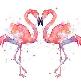 Olga Shvartsur - Flamingo Love Watercolor