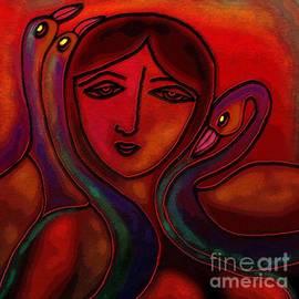 Latha Gokuldas Panicker - Flamingoes- Mural style