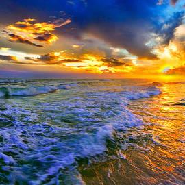 Eszra Tanner - Florida Beach-Golden Suntrail Sunset-Rolling Sea Waves