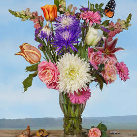 Levin Rodriguez - Flower Bouquet on a Ledge