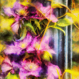Mike Savad - Flower - Clematis - Clematis and Lamp