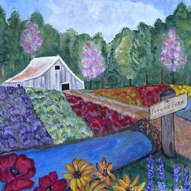 Ella Kaye Dickey - Flower Farm -Poppies Daisies Lavender Whimsical Painting