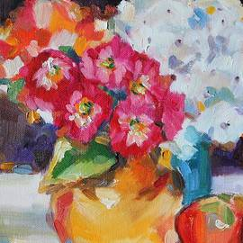 Becky Kim - Flowers in Yellow Vase with an Apple