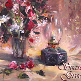Nancy Griswold - Flowers with Lantern Christmas Card