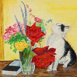 Veronica Rickard - Fluff Smells the Lavender- painting