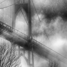 Dee Browning - Black and white Fog Shrouded St. Johns Bridge