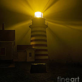 Marty Saccone - Foggy Night at West Quoddy Head Light-2