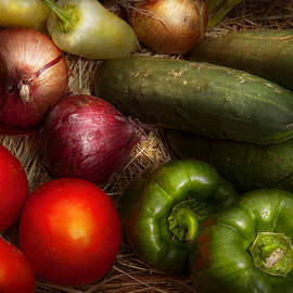 Mike Savad - Food - Vegetables - Onions Tomatoes Peppers and Cucumbers