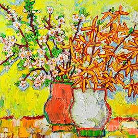 Ana Maria Edulescu - Forsythia And Cherry Blossoms Spring Flowers