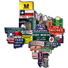 Carl Crum - Fort Worth Texas Shaped Photomontage Print