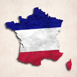 World Art Prints And Designs - France Map Art with Flag Design