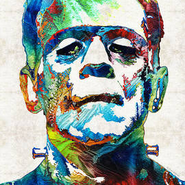 Sharon Cummings - Frankenstein Art - Colorful Monster - By Sharon Cummings