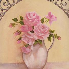 Chris Hobel - French Window Pink Roses Painting
