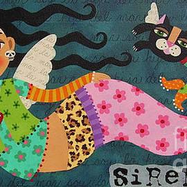 LuLu Mypinkturtle - Frida Kahlo Angel Mermaid with Skull and Black Cat