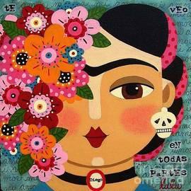 LuLu Mypinkturtle - Frida Kahlo with Flowers and Skull