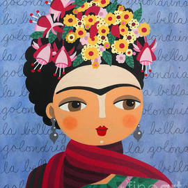LuLu Mypinkturtle - Frida Kahlo with Fuschias and Lantanas