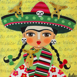 LuLu Mypinkturtle - Frida Kahlo with Sombrero and Chihuahuas