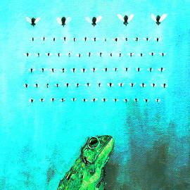 Fabrizio Cassetta - FROG with FLIES in SPACE INVADERS FORMATION
